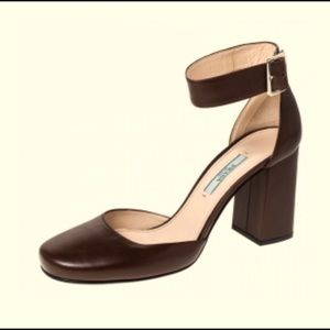 Prada Leather Block Heel Ankle Strap Shoes